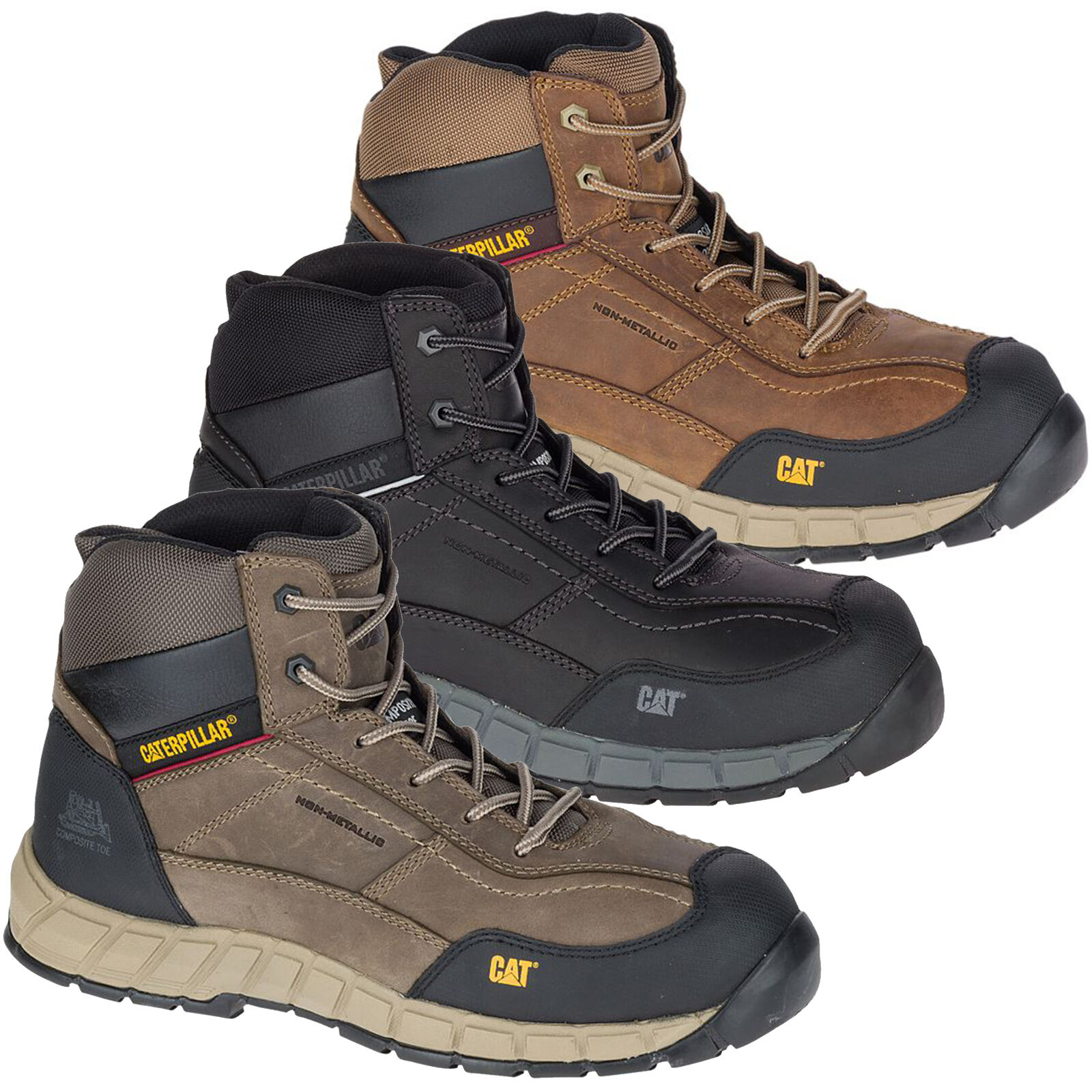 Mens Caterpillar Streamline Composite Toe/Midsole Safety Work Boot Sizes 6 to 13