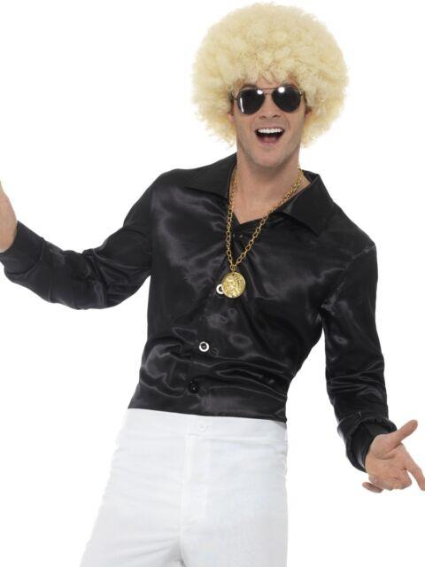 Black Satin Shirt Pimp Disco Retro Dress Up Halloween Adult Costume Accessory