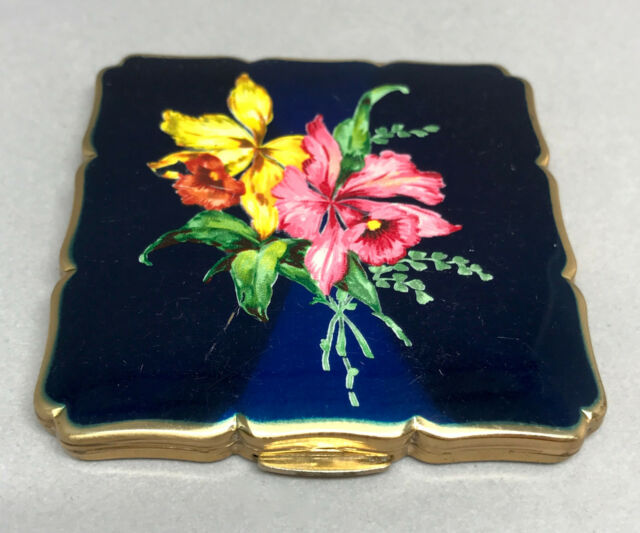 Stratton Face Powder Compact Cobalt Blue Enamel Hibiscus Flower Sifter c1960s