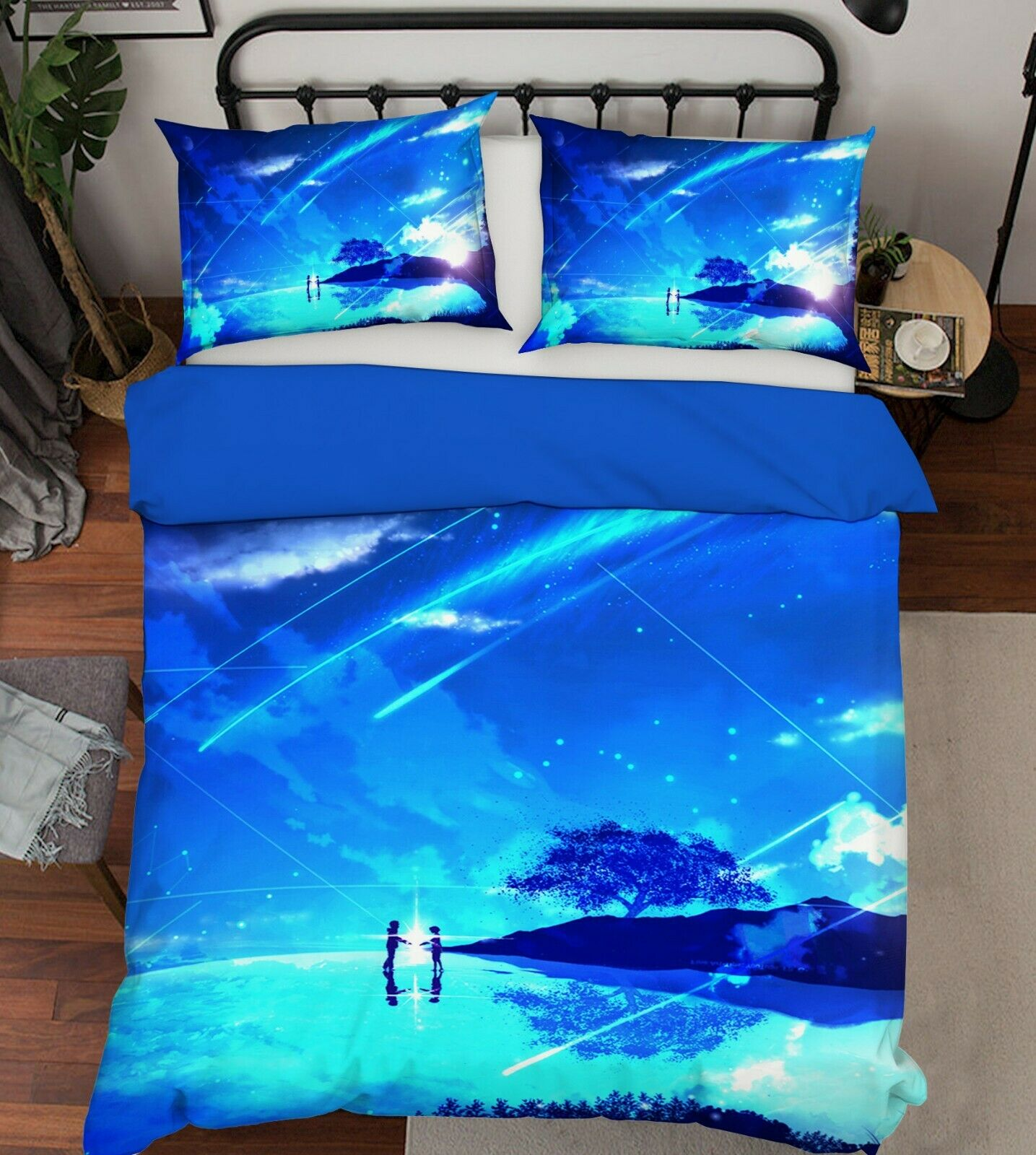 3D Meteor Sky Blau 909 Japan Anime Bed Pillowcases Quilt Duvet Cover Double Wend