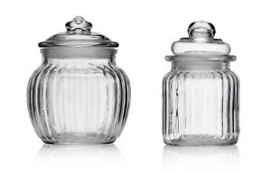 Small-Ribbed-Glass-Sweet-Jar-amp-Lid-Candy-Food-Storage-Pot-Vintage-Wedding-Favour