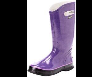 Bogs Womens Rainboots Linen Rainboots Plum/Purple size 7