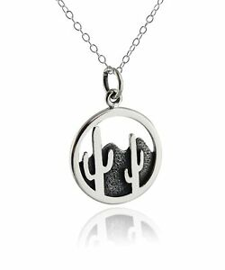 Desert Cactus Necklace 925 Sterling Silver Pendant