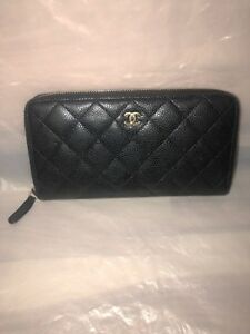 46c238146faa Image is loading CHANEL-Zippy-Long-Authentic-Wallet-Black-Caviar-Leather