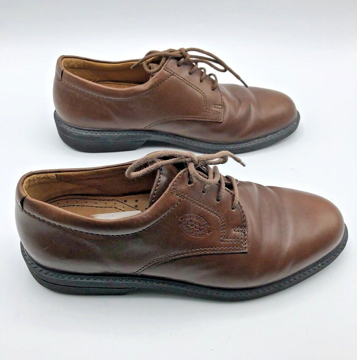 ECCO Comfort Fibre System Men Brown Leather Oxford Lace Up shoes SZ 8 Pre Owned