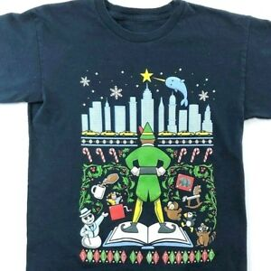 Christmas-Cheer-Elf-Smiling-Is-My-Favorite-TeeFury-S-T-Shirt-Small-Mens-RIPPED