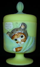 "Fenton Glass ~ Buttercream Color ~ Glass Chessie Cat Covered Box ""Snuggles"" 1/10"