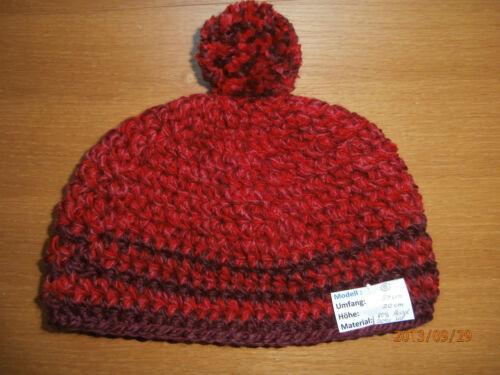 L Häkelmütze Mütze Wintermütze Boshi Damen Kinder Bommelmütze rot-weinrot mell