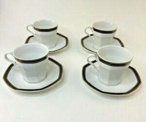 Set Of 4 Christopher Stuart Black Dress Octagonal Cups And