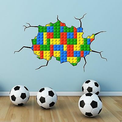 Coloured Bricks Full Colour Wall Art Sticker Mural Decal Graphic Boy Bedroom