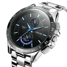 Fashion Men's Stainless Steel Military Waterproof Army Analog Quartz Wrist Watch