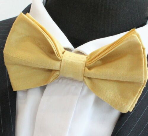 Pre-Tied. SILK Bow Tie Yellow Dupion SILK Premium Quality UK Made