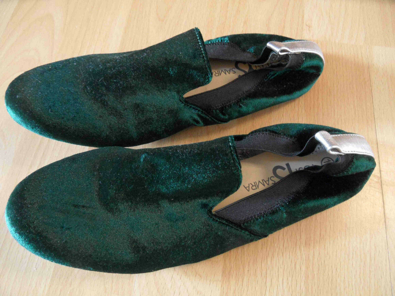 YOSI SAMRA tolle Loafer  Samt grün Gr. 40  Loafer NEU BSu316 408cae