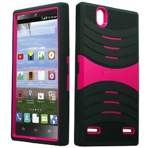 purchase cheap 327b1 e9b65 Details about ZTE Lever LTE / Z936L Rugged Phone Cover Case with Stand -  Black/Pink