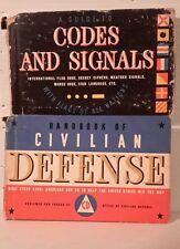 1940s WW2 Small HC Book Set of 2-Codes/Signals/Civilian Defense-FREE S&H(M3496)