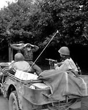 "WWII B&W Photo German POWS on Jeep M3 ""Greasegun""   World War Two   WW2 / 2340"