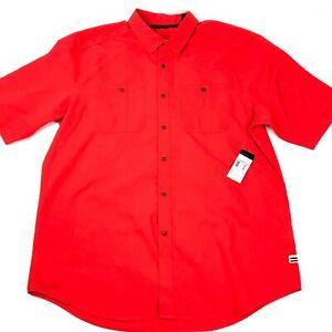 Sean-John-Shirt-Adult-2XL-Fiery-Red-Short-Sleeve-Button-Up-Mens-100-Cotton-NWT