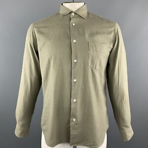 HARTFORD-Size-M-Olive-Solid-Cotton-Button-Up-Long-Sleeve-Shirt