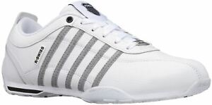 K. Swiss Arvee 1.5 White Grey Chambray Mens Leather Trainers