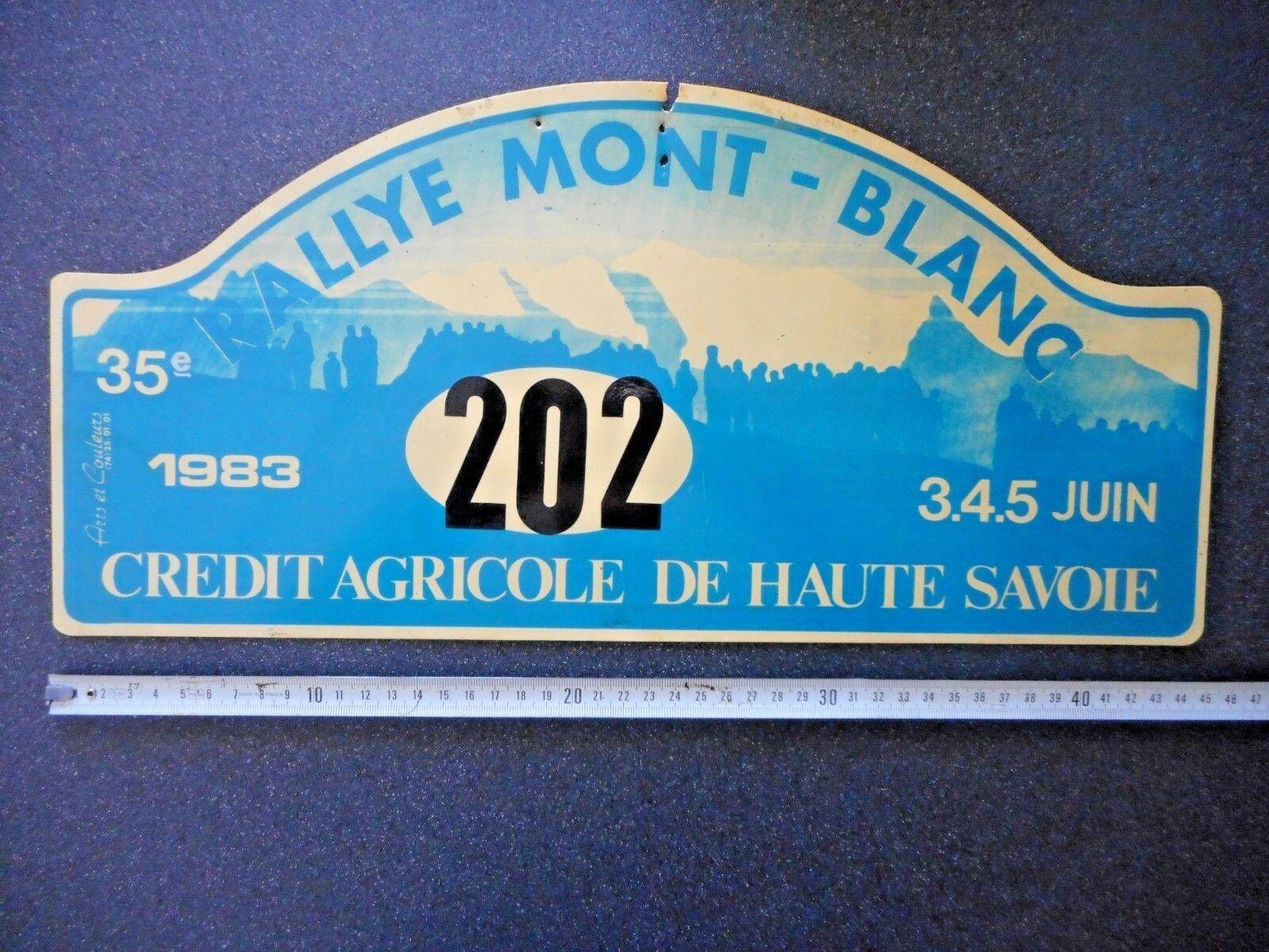 Véritable Plaque    RALLYE DU MONT BLANC   1983 coureur 202