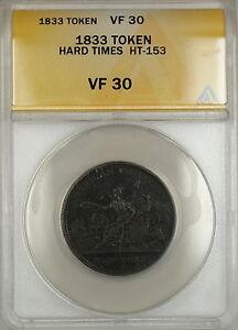 1833-Hard-Times-Token-Robinson-039-s-and-Jones-Co-New-York-HT-153-ANACS-VF-30