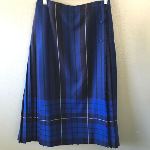 aljean skirt 12 blue plaid tartan wool wrap fringe