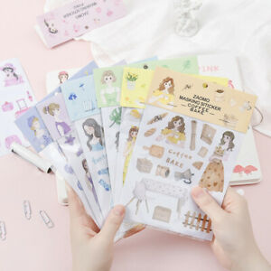 Cartoon Lady Washi Paper Stickers DIY Scrapbooking Diary Journal  Planner Decor
