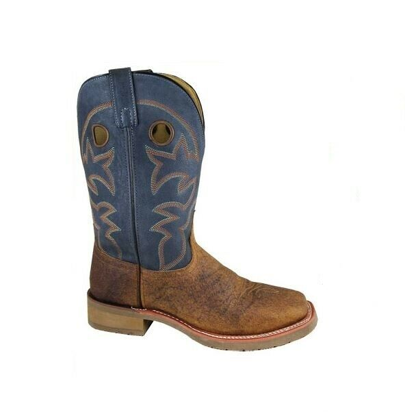 Smoky Mens 14D Navy bluee Distress Brown Leather Western Square Toe Cowboy Boots