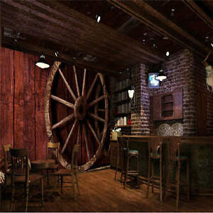 3d old fashioned wagon wheels wallpaper full wall mural for Wallpaper home hardware