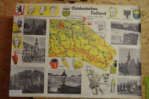 Schulwandkarte-Sachsen-Schlesien-Brandenburg-99x66-Heimatkarte-1960-vintage-map