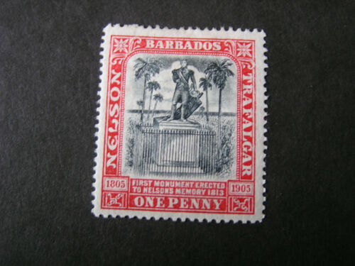 BARBADOS, SCOTT # 104, 1p. VALUE CARMINE 1906 LORD NELSON CENTENARY ISSUE MH