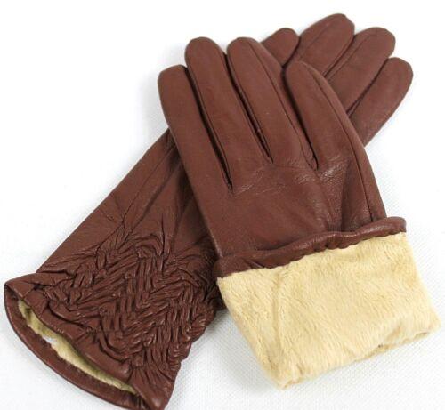 6,5   7   7,5   8    8,5    //g*28 Damen Echt Leder Handschuhe Gefüttert Gr