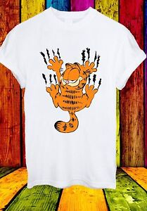 GARFIELD-il-muro-graffio-di-gatto-CARTOON-FUNNY-MOVIE-Uomini-Donne-Unisex-T-shirt-707