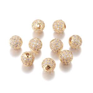 10x Brass Paved Cubic Zirconia Rhinestone Beads Round Shamballa Spacer Gold 10mm