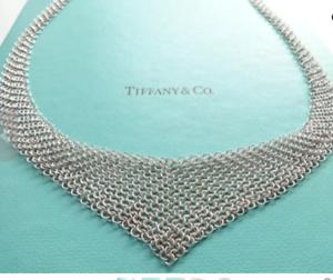 Tiffany-amp-Co-Peretti-Mesh-Bib-Scarf-Necklace-28-034-Sterling-Silver-EUC-1001