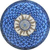 Round Stone Mosaic Sun Wall Or Tabletop Or Floor Art Tile Design Pattern - Sola