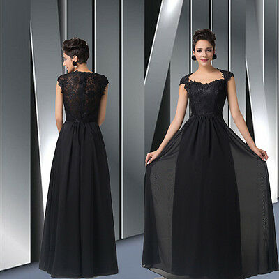 BLACK Long Chiffon Lace Evening Formal Party Cocktail Bridesmaid Prom Gown Dress