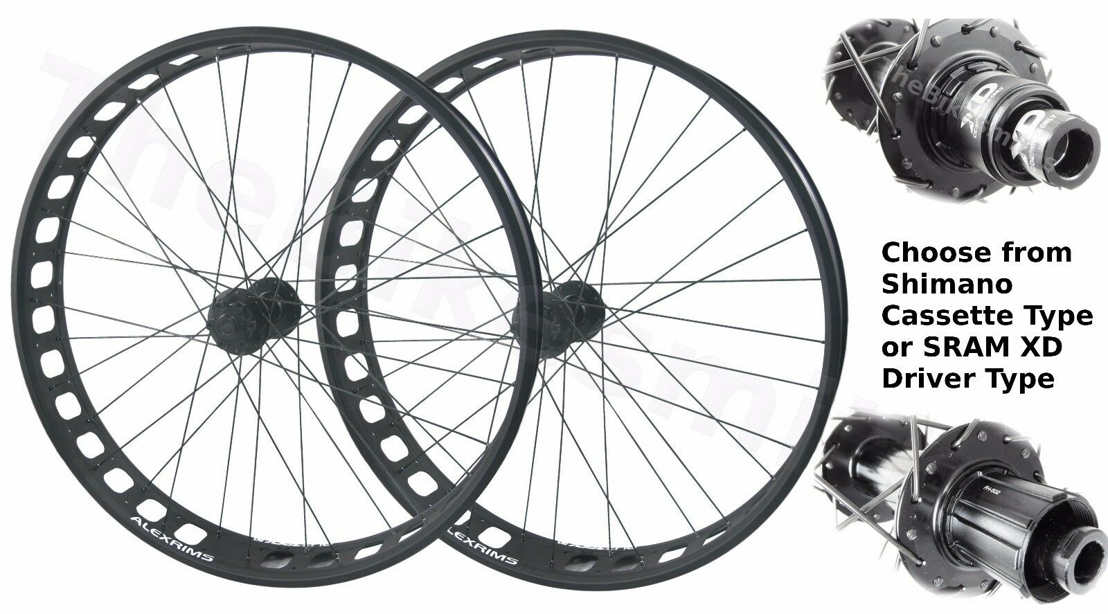 Alex Blizzerk 90 Tubeless Thru-Axle 15x150 Front & 12x197 Rear Fat Bike Wheelset