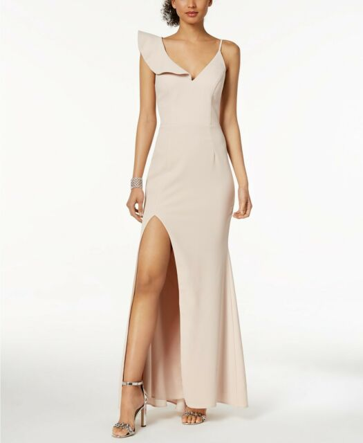 4cc2b4ef5dc Xscape Women s Pink V-neck Ruffle Shoulder Sleeveless Slit Dress Size 0