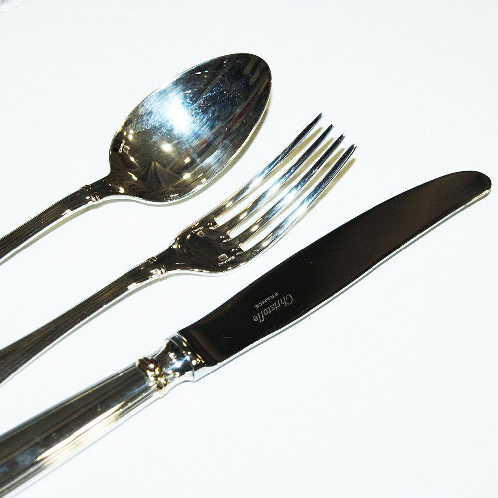 Ensemble de 3 couverts en métal argenté Océana, bague dorée, CHRISTOFLE