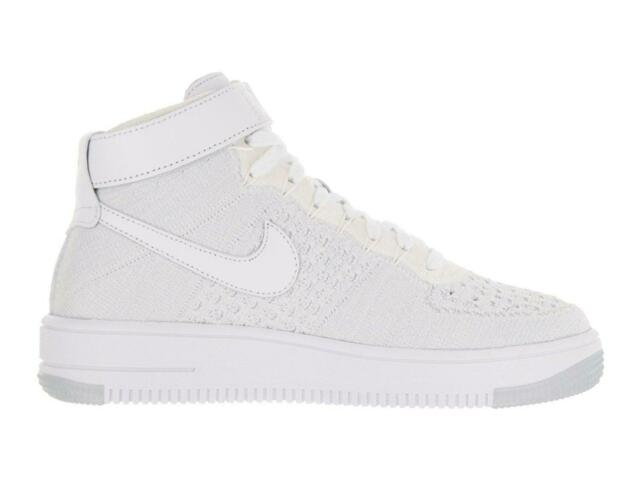 low priced 38ed3 255eb Womens NIKE AF1 FLYKNIT White Trainers 818018 100