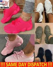 WOMENS LADIES KNIT TRAINERS LACE UP SPORT SNEAKERS CASUAL RUNNING WOMEN SHOES US