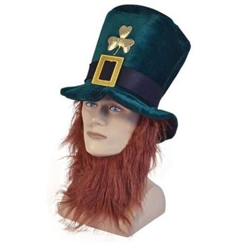 ST Patrick/'s Day Irlandese Leprecauno Cappello /& Ginger Barba Costume P5754