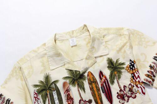 Men Aloha Shirt Cruise Tropical Luau Beach Hawaiian Party Cream Surf Boards Palm