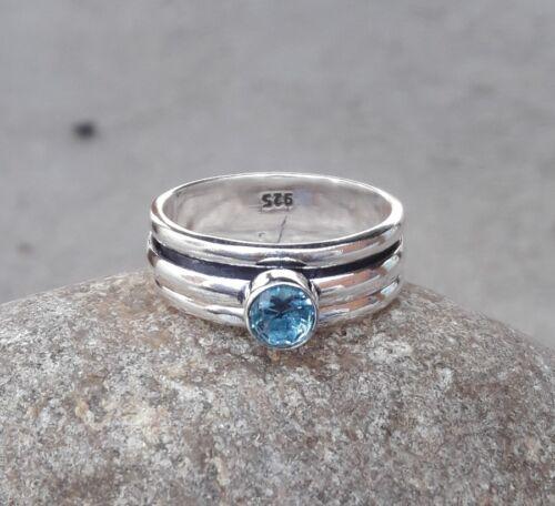 925 Sterling Silver /& Blue  Quartz Spinner Ring Jewelry Handmade All Size DE1