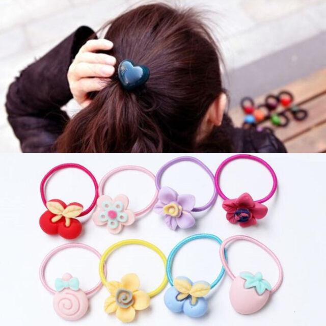 10pcs Glitter Shiny Kids Girl Elastic Hair Band Rubber Band Tie Ponytail Holder