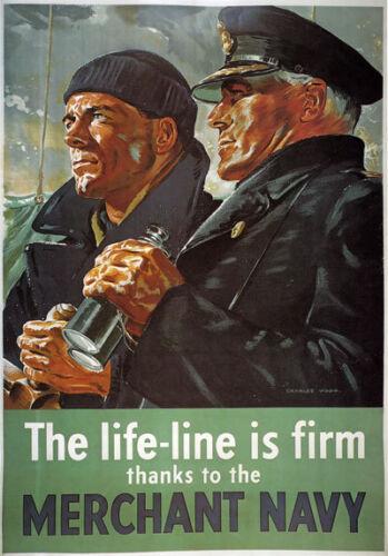3W8 Vintage WW2 Merchant Navy Life Line British WWII War Poster A2//A3
