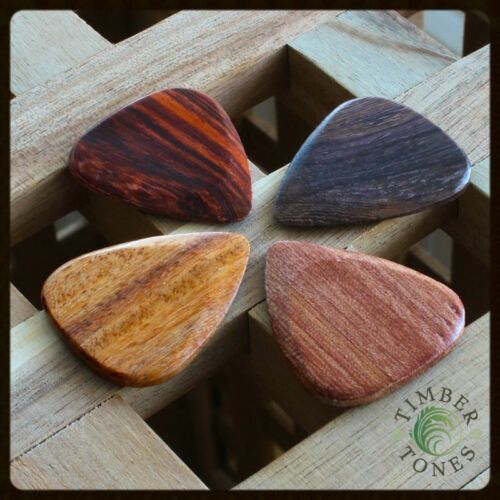 Pack Of 4 Mixed Woods Acoustic Guitar Plectrums // Picks Timber Tones