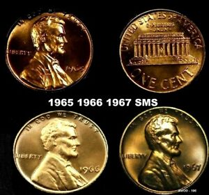1965 1966 1967 SMS Lincoln Memorial Cent Gem Run Special Mint set Coin lot of