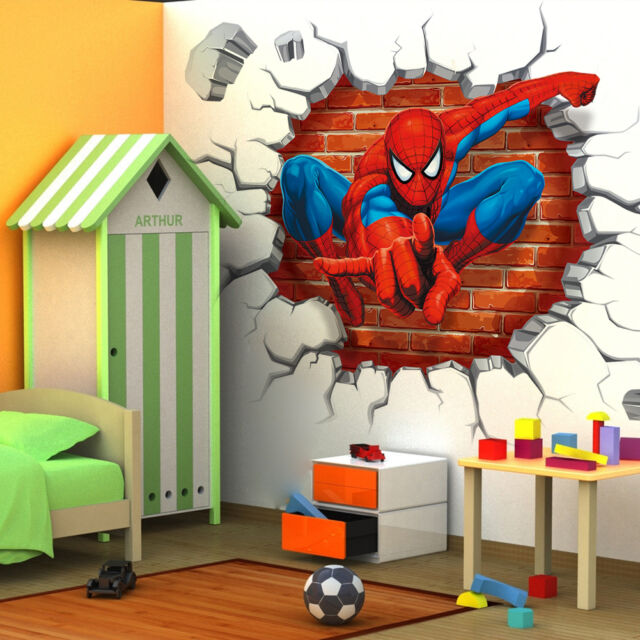 Spiderman 3D Cracked Children Themed Art Room Wall Sticker Home Decal Decor